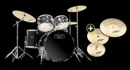 MAPEX Tornado BK Drumset inkl.HW + Zildjian Planet Z Beckenset